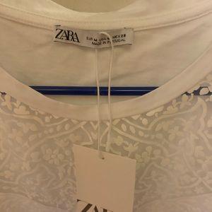 White lace tee shirt from Zara short sleeve